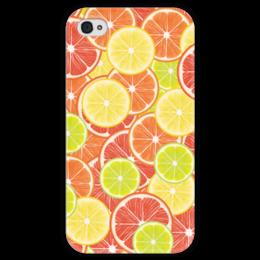 """Чехол для iPhone 4 глянцевый, с полной запечаткой """"Цитрусы"""" - апельсин, лайм, лимон, грейпфрут, дольки"""