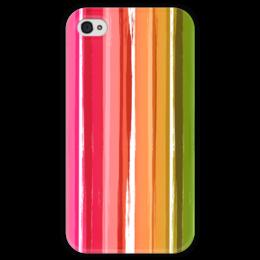 """Чехол для iPhone 4 глянцевый, с полной запечаткой """"Радуга"""" - узор, радуга, рисунок, полосатый, красочный"""