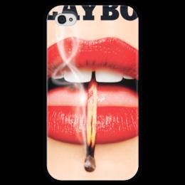 """Чехол для iPhone 4 глянцевый, с полной запечаткой """"Playboy Губы"""" - playboy, плейбой, плэйбой"""
