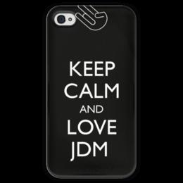 """Чехол для iPhone 4 глянцевый, с полной запечаткой """"Keep calm and Love JDM"""" - jdm, keep calm"""