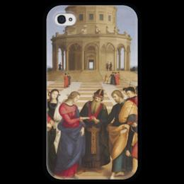 """Чехол для iPhone 4 глянцевый, с полной запечаткой """"Обручение Девы Марии (картина Рафаэля)"""" - картина, рафаэль"""