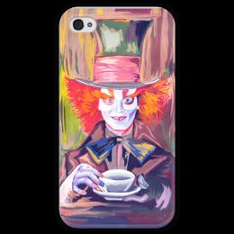 """Чехол для iPhone 4 глянцевый, с полной запечаткой """"Шляпник"""" - алиса в стране чудес, alice in wonderland, mad hatter, болванщик"""