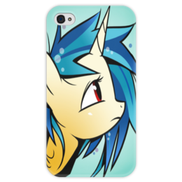 """Чехол для iPhone 4 глянцевый, с полной запечаткой """"Dj pon-3"""" - pony, mlp, my little pony, пони, magic, friendship"""