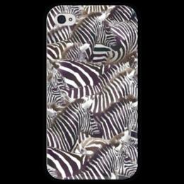 """Чехол для iPhone 4 глянцевый, с полной запечаткой """"Зебры """" - полоска, зебра, акварель, стадо, черное-белое"""