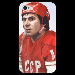 """Чехол для iPhone 4 глянцевый, с полной запечаткой """"Валерий Харламов"""" - хоккей, валерий харламов, сборная ссср по хоккею"""