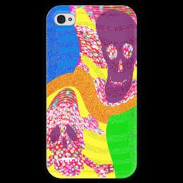 """Чехол для iPhone 4 глянцевый, с полной запечаткой """"Золотой песок"""" - черепа, пираты, побережье, полоски, сокровища"""