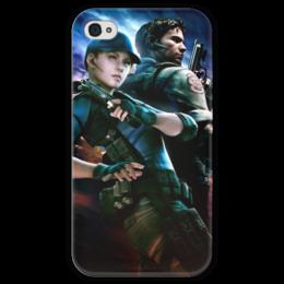 """Чехол для iPhone 4 глянцевый, с полной запечаткой """"Resident Evil"""" - игра, обитель зла, resident evil, umbrella, re"""