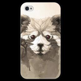 """Чехол для iPhone 4 глянцевый, с полной запечаткой """"Малая панда"""" - арт, красная панда, панда, panda"""
