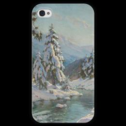 """Чехол для iPhone 4 глянцевый, с полной запечаткой """"Зимний пейзаж с елями"""" - картина, вещилов"""