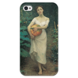 "Чехол для iPhone 4 глянцевый, с полной запечаткой ""Young Girl with a Pumpkin"" - картина, зонаро"