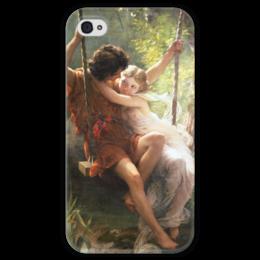 """Чехол для iPhone 4 глянцевый, с полной запечаткой """"Весна (Пьер Огюст Кот)"""" - кот, картина"""