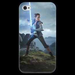 """Чехол для iPhone 4 глянцевый, с полной запечаткой """"Звездные войны - Рей"""" - звездные войны, фантастика, кино, дарт вейдер, star wars"""