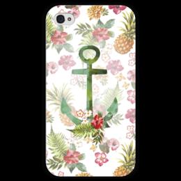 """Чехол для iPhone 4 глянцевый, с полной запечаткой """"Гавайи"""" - лето, цветы, море, якорь, пляж"""