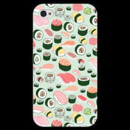 "Чехол для iPhone 4 глянцевый, с полной запечаткой ""Я Люблю Суши!"" - еда, суши, sushi, i love sushi"