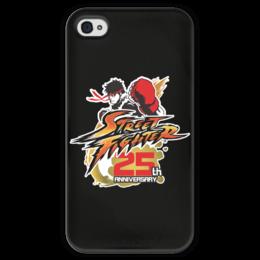 """Чехол для iPhone 4 глянцевый, с полной запечаткой """"Street Fighter"""" - игры, геймер, уличный боец, по играм, про игры"""