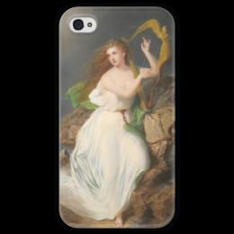 """Чехол для iPhone 4 глянцевый, с полной запечаткой """"Арфа Эрин (картина Томаса Бьюкенена Рида)"""" - ирландия, картина, рид"""