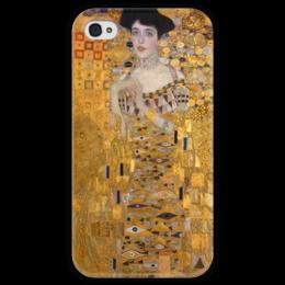 """Чехол для iPhone 4 глянцевый, с полной запечаткой """"Портрет Адели Блох-Бауэр I"""" - картина, климт"""