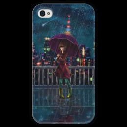 """Чехол для iPhone 4 глянцевый, с полной запечаткой """"Ночное небо"""" - ночь, дождь, аниме, звёзды, крыша"""