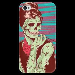 """Чехол для iPhone 4 глянцевый, с полной запечаткой """"Одри Хепберн (зомби)"""" - skull, череп, зомби, одри хепберн, икона стиля"""