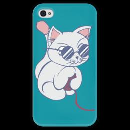 """Чехол для iPhone 4 глянцевый, с полной запечаткой """"Котенок с клубком"""" - кот, кошка, котенок, очки, клубок"""