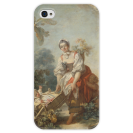 """Чехол для iPhone 4 глянцевый, с полной запечаткой """"Радости материнства"""" - картина, фрагонар"""