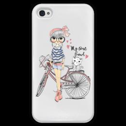 """Чехол для iPhone 4 глянцевый, с полной запечаткой """"Девушка и котёнок"""" - девушка, велосипед, котёнок, друг"""