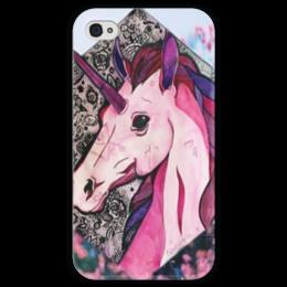"""Чехол для iPhone 4 глянцевый, с полной запечаткой """"Единорог"""" - pink, unicorn, единорог, fantasy"""