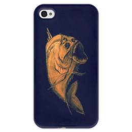 "Чехол для iPhone 4 глянцевый, с полной запечаткой ""Пиранья "" - арт, рыба, fish, piranha"