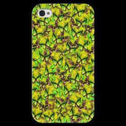 """Чехол для iPhone 4 глянцевый, с полной запечаткой """"Ornithoptera"""" - бабочки, природа, текстура, фон"""