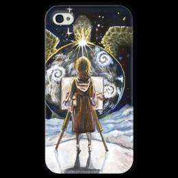 """Чехол для iPhone 4 глянцевый, с полной запечаткой """"художник"""" - painter, мальберт"""