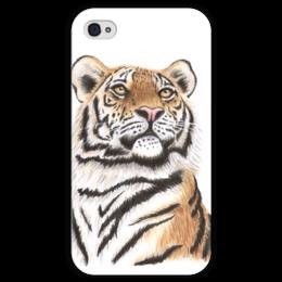 """Чехол для iPhone 4 глянцевый, с полной запечаткой """"Взгляд тигра"""" - хищник, животные, взгляд, тигр, зверь"""