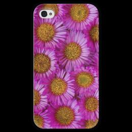"""Чехол для iPhone 4 глянцевый, с полной запечаткой """"Астры"""" - цветы, желтый, розовый, лепесток, астры"""