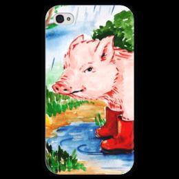 """Чехол для iPhone 4 глянцевый, с полной запечаткой """"Маленькая свинка"""" - ручная работа, детский рисунок, от детей, детская работа"""