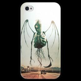 """Чехол для iPhone 4 глянцевый, с полной запечаткой """"Монстры Юга"""" - череп, рок, скелет, смерть, ужасы"""