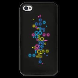"""Чехол для iPhone 4 глянцевый, с полной запечаткой """"Психоделика 2"""" - пузырьки, цвет, абстракция, чёрный фон"""