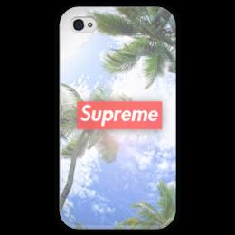 """Чехол для iPhone 4 глянцевый, с полной запечаткой """"Supreme"""" - new, swag, supreme, пальмы"""
