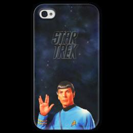 """Чехол для iPhone 4 глянцевый, с полной запечаткой """"Звездный путь-Star Treck """" - арт"""