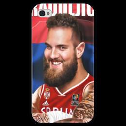 """Чехол для iPhone 4 глянцевый, с полной запечаткой """"Braduljica"""" - nba, serbia, raduljica"""