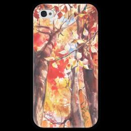 """Чехол для iPhone 4 глянцевый, с полной запечаткой """"Осенний лес"""" - осень, лес, октябрь, акварель, осенний"""