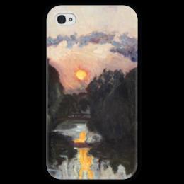 """Чехол для iPhone 4 глянцевый, с полной запечаткой """"Сумерки над озером"""" - картина, бакст"""