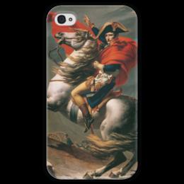 """Чехол для iPhone 4 глянцевый, с полной запечаткой """"Наполеон на перевале Сен-Бернар (Жак-Луи Давид)"""" - картина, давид"""