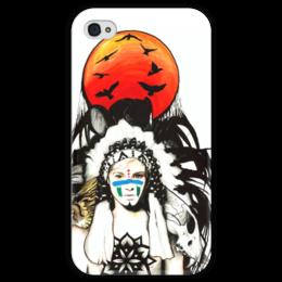 """Чехол для iPhone 4 глянцевый, с полной запечаткой """"Вождь"""" - арт, солнце, sun, chief"""