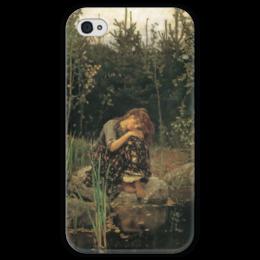 """Чехол для iPhone 4 глянцевый, с полной запечаткой """"Алёнушка (картина Васнецова)"""" - картина, васнецов"""