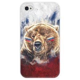 """Чехол для iPhone 4 глянцевый, с полной запечаткой """"Русский Медведь"""" - флаг, триколор, россия, футбол, медведь"""