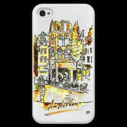 """Чехол для iPhone 4 глянцевый, с полной запечаткой """"Амстердам"""" - amsterdam, coffee, велосипед, амстердам"""