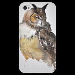 """Чехол для iPhone 4 глянцевый, с полной запечаткой """"Watercolor owl"""" - арт, сова, филин, owl"""