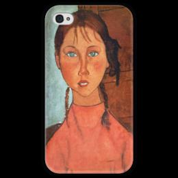 """Чехол для iPhone 4 глянцевый, с полной запечаткой """"Девочка с косичками (Амедео Модильяни)"""" - картина, модильяни"""