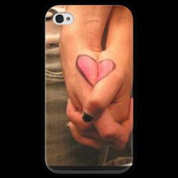 """Чехол для iPhone 4 глянцевый, с полной запечаткой """"Любовь"""" - heart, на свадьбу"""