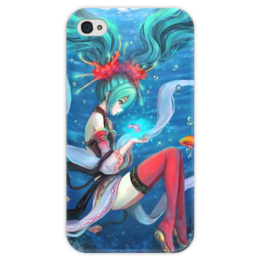 """Чехол для iPhone 4 глянцевый, с полной запечаткой """"Hatsune Miku """" - девушка, море, аниме, anime, рыбы, sea, fish, blue, vocaloid, синие волосы"""