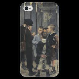 """Чехол для iPhone 4 глянцевый, с полной запечаткой """"Совещание"""" - картина, башкирцева"""